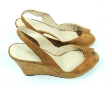 18e42facd Cato Women Wedges Sandals Size 8.5 Brown Suede Slingback Peep Toe Heels  Career