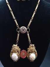 Antique 1880's Victorian Vintage 2 TWIN CAMEO Brooch Art Deco Necklace Pendant