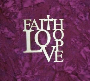Faith Love Hope Sign Unfinished Wood Cutout Artistic Craft Supply Made In USA