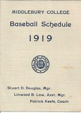 MIDDLEBURY COLLEGE,MIDDLEBURY,VT. BASEBALL SCHEDULE,1919,PATRICK KEEFE,COACH