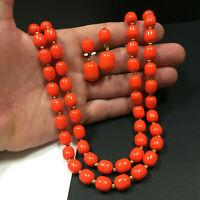 Vtg MARVELLA Necklace Dangle Earring SET 60's Bright Orange Lucite Beaded ii60C