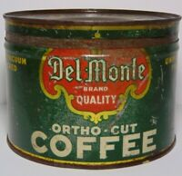 Old Vintage 1930s DEL MONTE COFFEE ORTHO CUT KEYWIND COFFEE TIN ONE 1 POUND