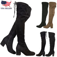 New Women's Back Lace Up Mid Chunky Block Heel Over The Knee Thigh High Boot