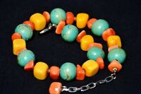 Vintage Multi Color Necklace Semi Precious Stones and Wooden Beads *