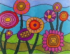 Bright Flowers Hand Painted Needlepoint Canvas