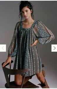 Anthropologie Sona Tunic Dress Green Floral Peasant Boho Size Large