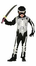 Niños Negro Esqueleto Huesos Ninja Assassin Disfraz Halloween Vestido de fantasía Traje