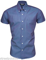 Relco Mens Blue Purple Tonic Short Sleeved Shirt Mod Skin Retro Indie 60s 70s
