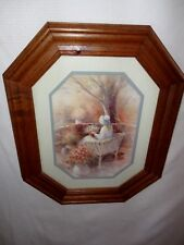Home Interiors Octagon ''Lady on Wicker Bench '' Picture 14.5'' x 17.5'' Sale