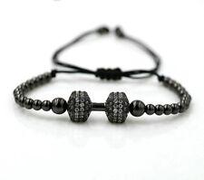 Black Adjustable Unisex Cubic Zirconia Stainless Steel Dumbbell Bracelet