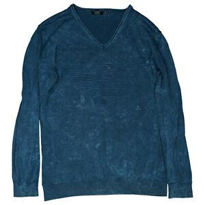 Armani Jeans Herren langarm Pullover V-Schnitt Gr.XL used blau TOP
