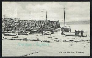 1923 The Old Harbour Alderney Channel Islands Postcard G780