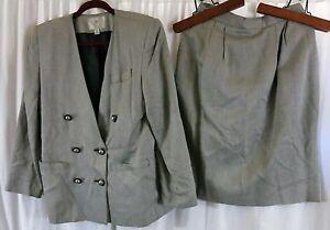 Amanda Smith Gray Herringbone 10 Petite Double Breast Skirt Suit Rayon