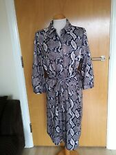 Ladies Dress Size 18 WALLIS Grey Snakeskin Belted Party Evening Wedding