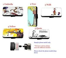 Calvin Hobbes Inspired comic leather wallet phone case for iPhone Samsung HTC LG