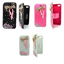 CASE FOR APPLE IPHONE 4/4S CLEAR RHINESTONE BOW TIE PINK FLOWER DESIGN WALLET