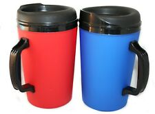 2 Foam Insulated 34oz ThermoServ Travel Mugs Blue & Red