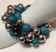 Chunky Beaded Stretch Bracelet Acrylic Resin Silver Black Turquoise Blue Beads