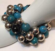 Chunky Beaded Stretch Bracelet Acrylic Resin Silver Black Turquoise Blue Beads