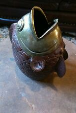 antique cast iron and brass open mouth fish