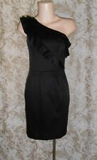 FOREVER NEW Sz 8 black stretch acetate blend ruffled one shoulder pencil Dress