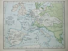 ANTIQUE PRINT MAP DATED 1905 WESTERN EUROPE IN MAY 1702 COLOUR MAP WORLD ATLAS