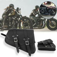 Universal Motorcycle Cruiser Motorbike Side Panniers Solo Leather Saddle Bag NEW
