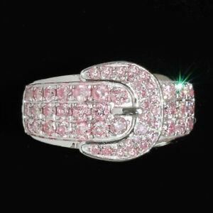 1.1Ct Natural Pink Diamond 10K White Gold Belt Ring Color Enhanced RPG237-10-7-4