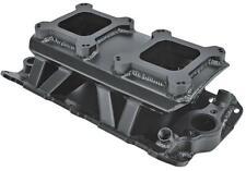 Intake Manifold Dual Carburetor Tunnel Ram Fabricated Alum. Black Chevy SBC Each