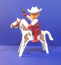 PLAYMOBIL RED & WHITE COWBOY ON HORSE ~ Custom ~ Western
