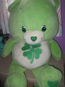 "3'  2003 Lime Green CARE BEAR Plush 36"" Shamrock Good Luck Bear Clover"
