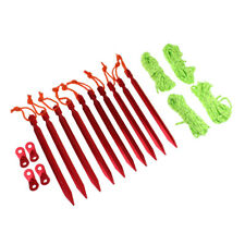 Camping Tent Accessories Tent Pegs Stakes Guy Lines Cord Tensioner Pouch Red