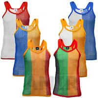 Mens/Unisex AMIR String Vest 2 Tone Tank Top Summer Premium 100% Cotton Top M-XL