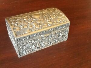 PEWTER CHEST TRINKET  BOX .