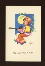 Artist MABEL LUCIE ATTWELL c1960s fashion girl playing guitar PPC #MLA 42
