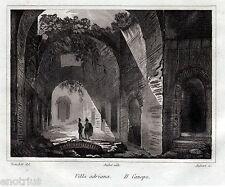 Tivoli: Villa Adriana: il Canopo.Audot.Acciaio.Stampa Antica + Passepartout.1836