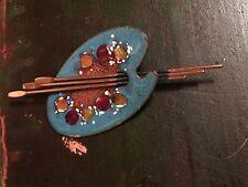 Vintage Matisse & Renior Copper & Blue Enamel Artist Palette Pin Brooch