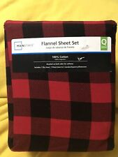 Queen Size 4 Piece Red And Black Plaid Flannel Sheet Set