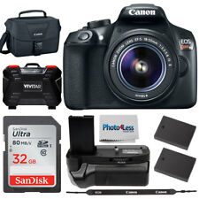 Canon EOS Rebel T6 DSLR Camera w 18-55mm IS Lens + Battery Grip +Top Accessories
