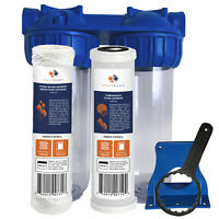 """Aquaboon 2-Stage 10"""" Water Filtration System ( String Wound & Carbon Filters)"""