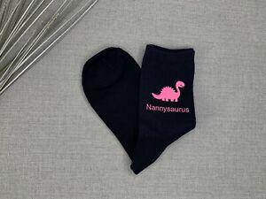 Nanny Gift Nannysaurus Ladies Navy Socks with Pink Print Birthday Christmas Gift
