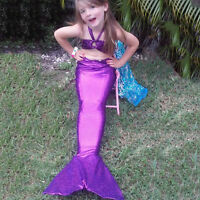 Kids Girls Swimmable Mermaid Tail Bikini Set Summer Beach Swimwear Costumes 2-8Y