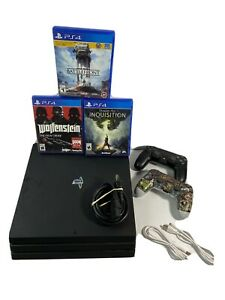 Sony PlayStation 4 Pro PS4 1TB 4K Console - Black w/ 2 Controllers and 3 Games