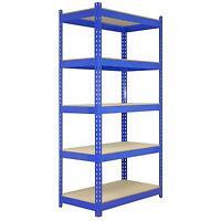 5 Racking Bays 90cm Warehouse Shelving Storage Garage Shelves Unit Steel 5 Tier