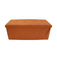 Mobili Rebecca® Pouf Baule Finta Pelle Arancione Portaoggetti Ingresso Camera