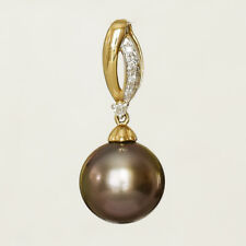 TAHITIAN BLACK PEARL PENDANT 11mm CULTURED PEARL 14K GOLD GENUINE DIAMONDS NEW
