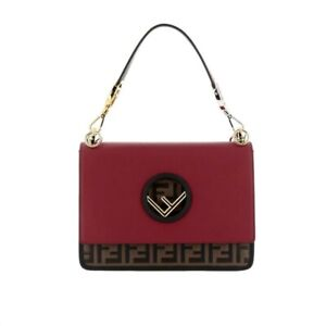 Fendi Kan bag  Red Logo FF Embossed Leather Shoulder Bag
