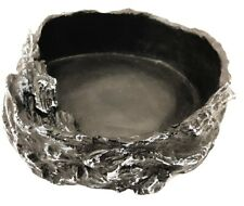 Jungle Bob Black Reptile Food & Water Dish Bowl - Terrarium Pet Tank Decoration