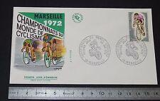 ENVELOPPE 1er JOUR PHILATELIE 1972 CYCLISME CHAMPIONNATS DU MONDE MARSEILLE
