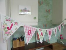 PERSONALISED BUNTING LAURA ASHLEY Gingham CATH KIDSTON FABRIC Floral + Pink Spot